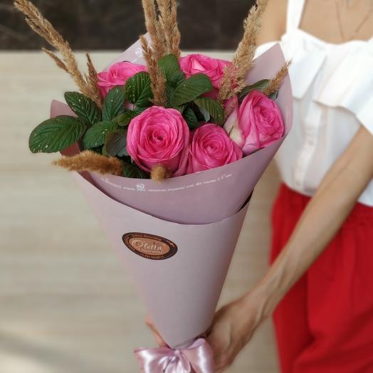 Букет из роз со злаками: букеты цветов на заказ Flowwow