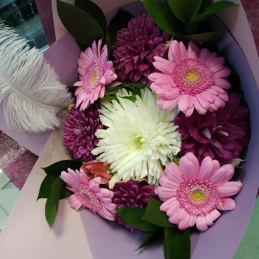 Букет из 5 хризантем и 4 гербер: букеты цветов на заказ Flowwow