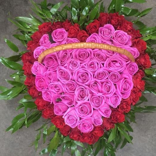 Розы в корзине 101 шт: букеты цветов на заказ Flowwow