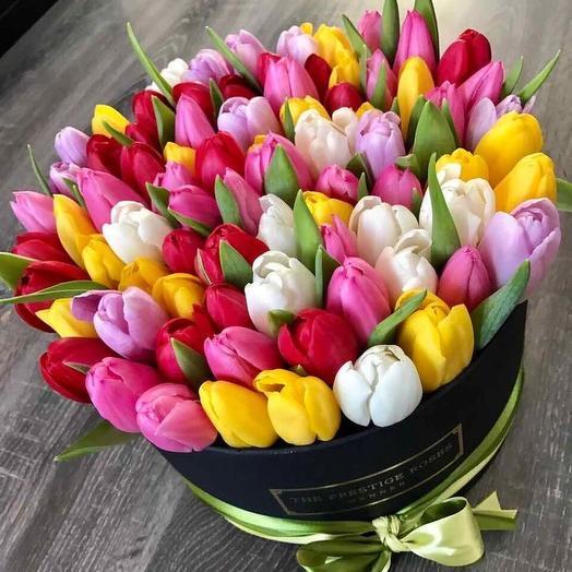 Разноцветные Тюльпаны: букеты цветов на заказ Flowwow