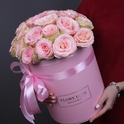 25 роз Эсперанса в шляпной коробке Эквадор