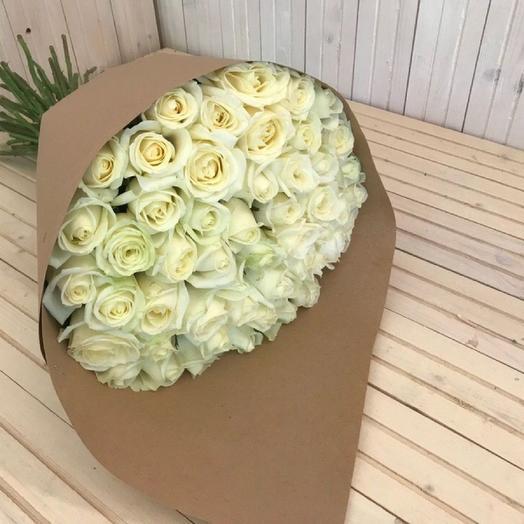 Букет из ослепительных роз сорта Аваланж 51 шт: букеты цветов на заказ Flowwow