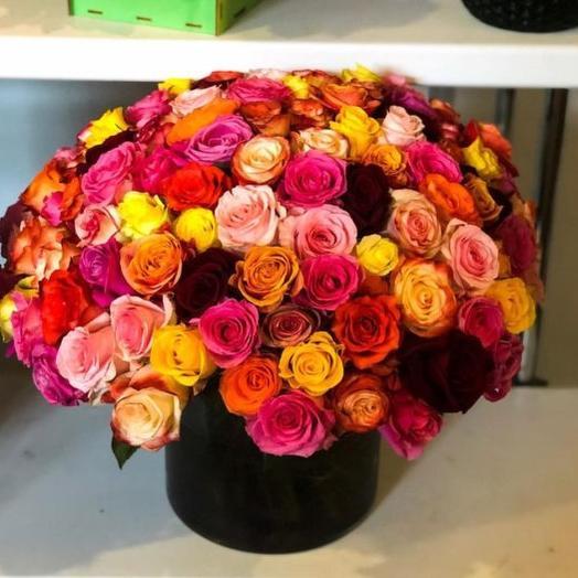 Букет из 101 розы микс 5-х сортов в шляпной коробке
