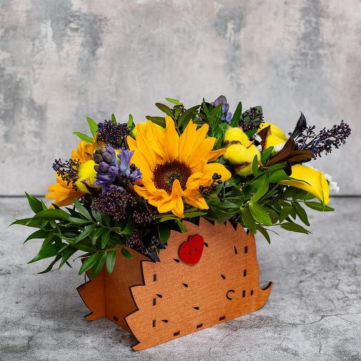 Ящик с цветами «Ежик»