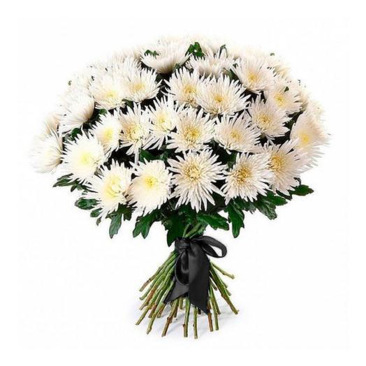 30 хризантем с чёрной лентой