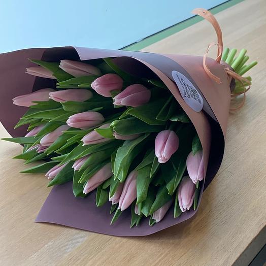 Розовые тюльпаны 23 шт
