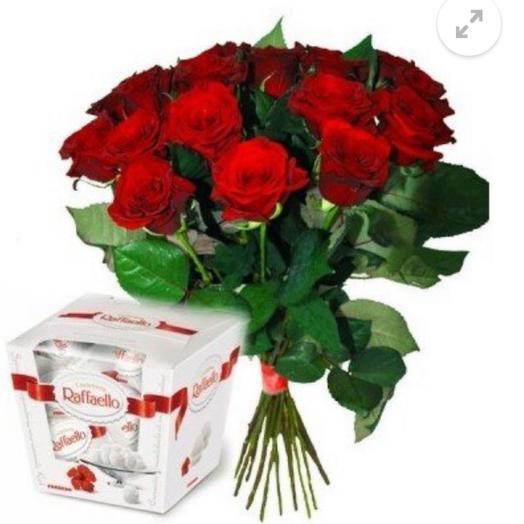 15 роз Кения красных и рафаэлло