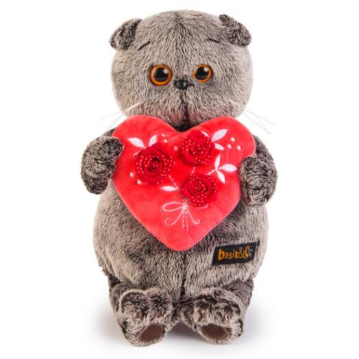 """Мягкая игрушка """"Кот Басик"""" с красным сердечком 25 см"""
