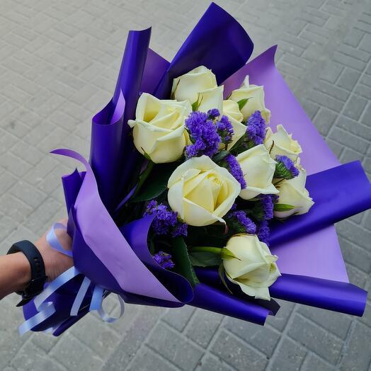9 роз в фиолетовом 👗
