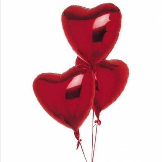 Воздушные шарики сердце 3 штуки