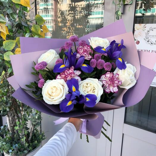 With irises and a rose