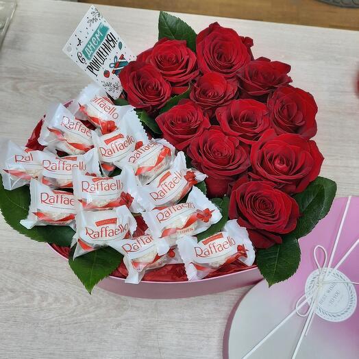 """Цветы в коробке сердце """"любимой"""""""