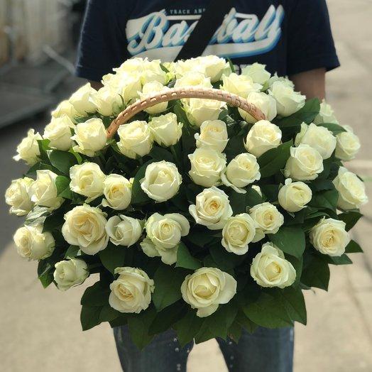 Корзины с цветами. Розы. 51 роза. N149: букеты цветов на заказ Flowwow
