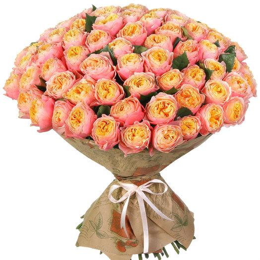 """Букет из 101 пионовидной розы """"Вувузела"""": букеты цветов на заказ Flowwow"""