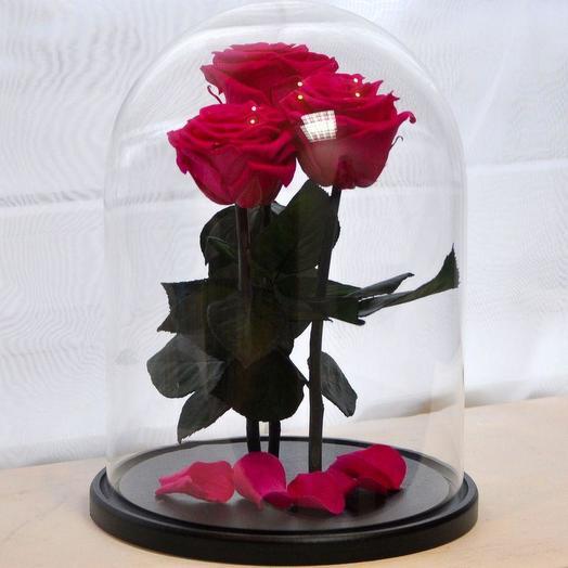 """КОМПОЗИЦИЯ ИЗ РОЗ В КОЛБЕ ТРИО """"ЯГОДА МАЛИНА"""": букеты цветов на заказ Flowwow"""