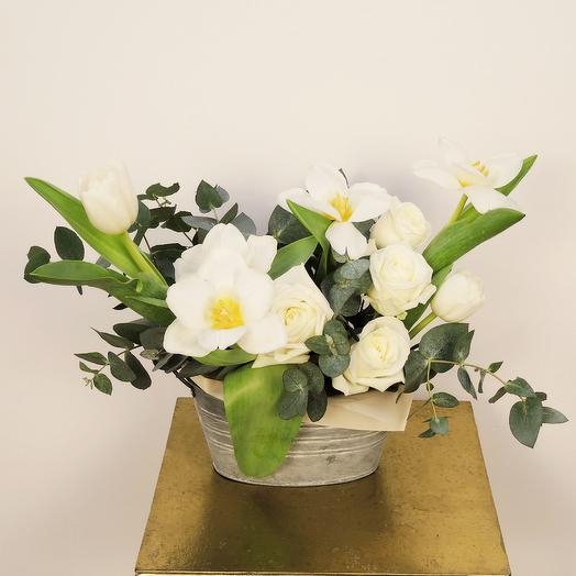 Композиция в металлическом кашпо: букеты цветов на заказ Flowwow
