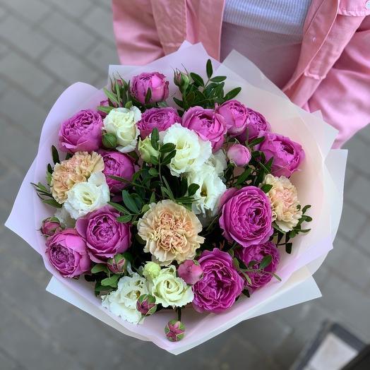 """Букет с пионовидными розами """"Bianco"""""""