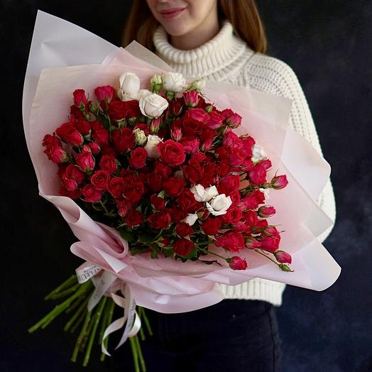 Микс кустовых роз 60 см: букеты цветов на заказ Flowwow