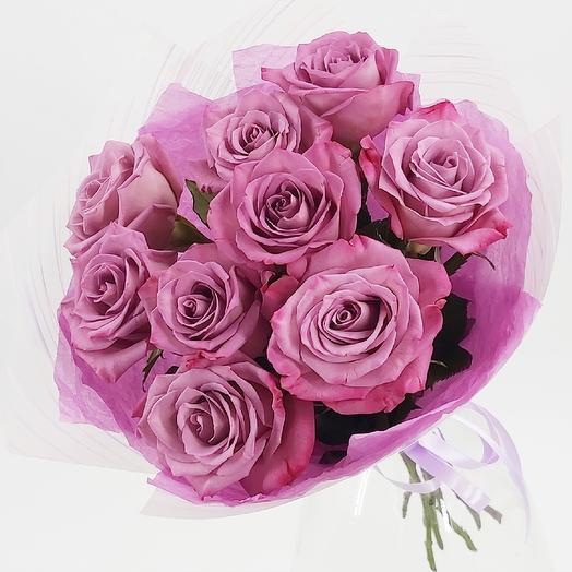 9 фиолетовых розочек