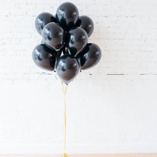 11 чёрных гелиевых шаров