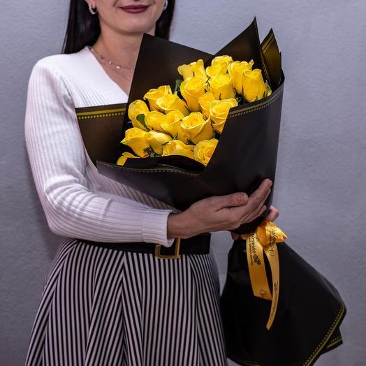Моно букет жёлтых роз