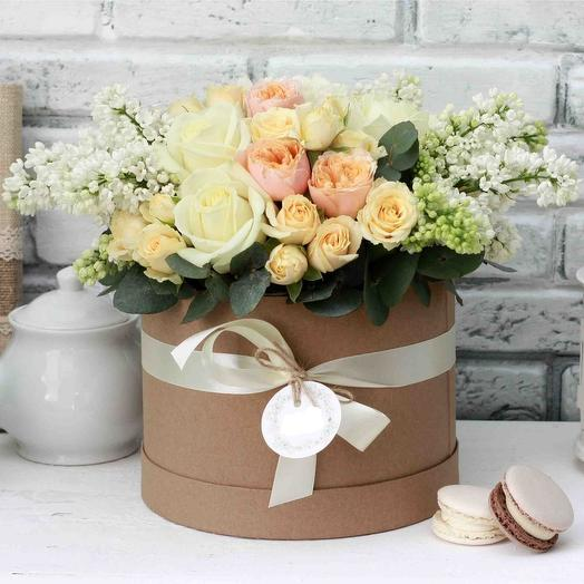 """Цветы в шляпной коробке """"Белая сирень"""""""