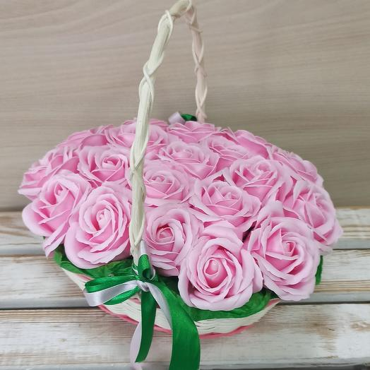 Розы из мыла в корзине 19 шт
