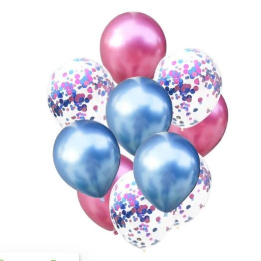 Гелиевые воздушные шары с конфетти , хром