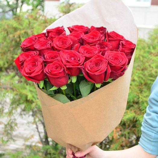 21 роза в натуральной упаковке 60см