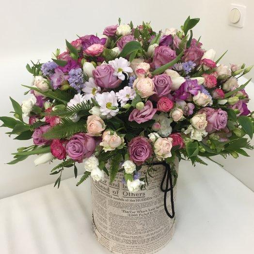 Шляпная коробка «Розовое лето»: букеты цветов на заказ Flowwow