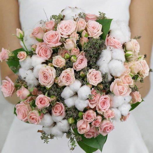 Букет невесты из кустовых роз, хлопка и тимьяна: букеты цветов на заказ Flowwow