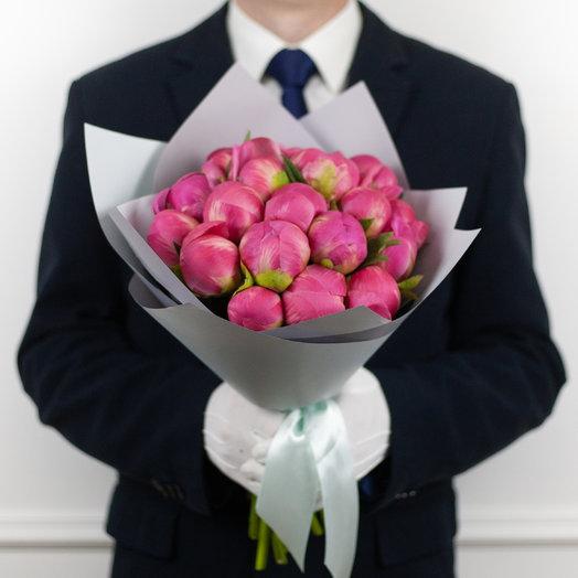 Букет из 19 французских пионов Coral: букеты цветов на заказ Flowwow