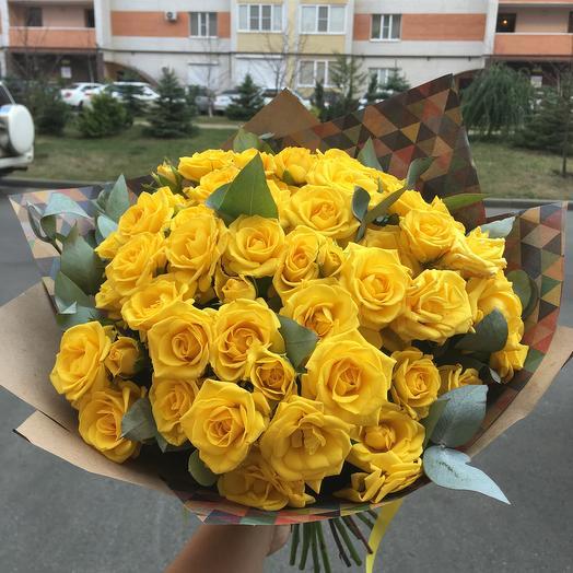 Букет 15 кустовых желтых роз: букеты цветов на заказ Flowwow