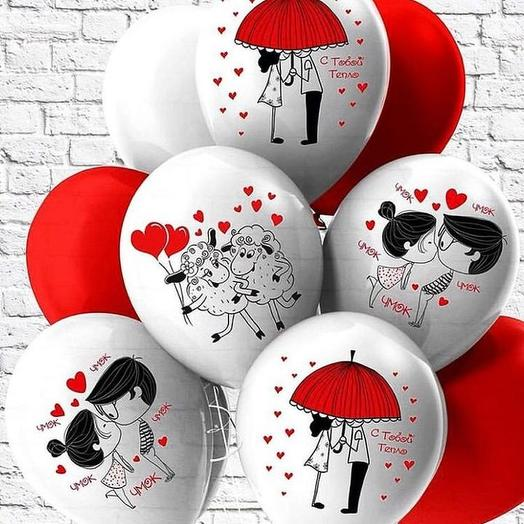 9 шаров гелиевых поцелучики   lovelovelove: букеты цветов на заказ Flowwow