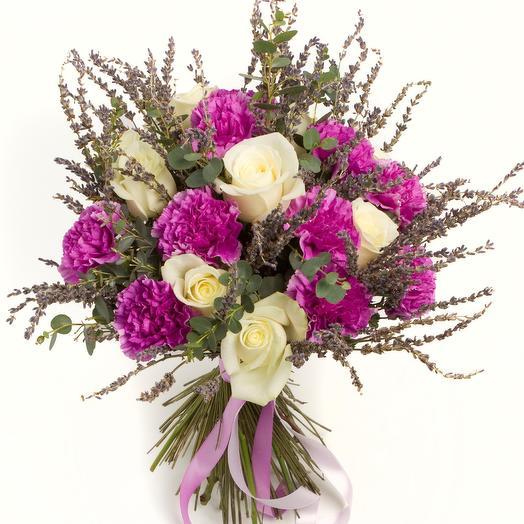 """Букет с гвоздикой """"Стильный Прованс"""": букеты цветов на заказ Flowwow"""