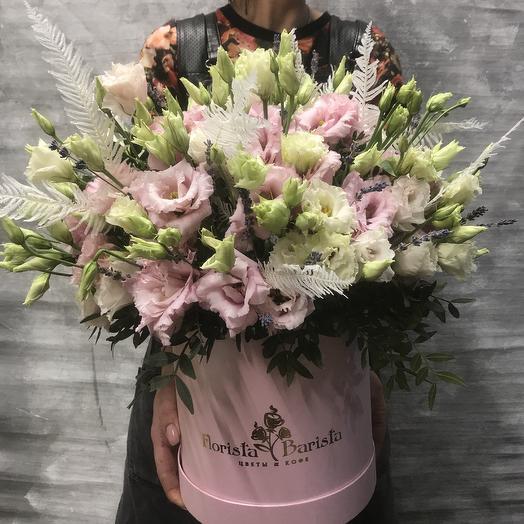 Композиция с нежной эустомой и Лавандой: букеты цветов на заказ Flowwow