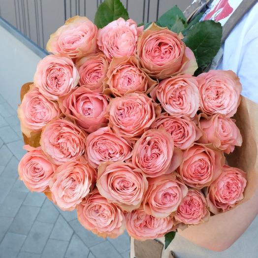 25 Kahala peony roses 60cm in Kraft paper