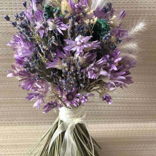 Сиреневый букет из сухоцветов