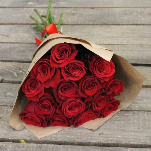 Роза красная 15 шт в упаковке