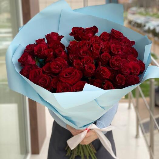 51 Роза 90 см голубой