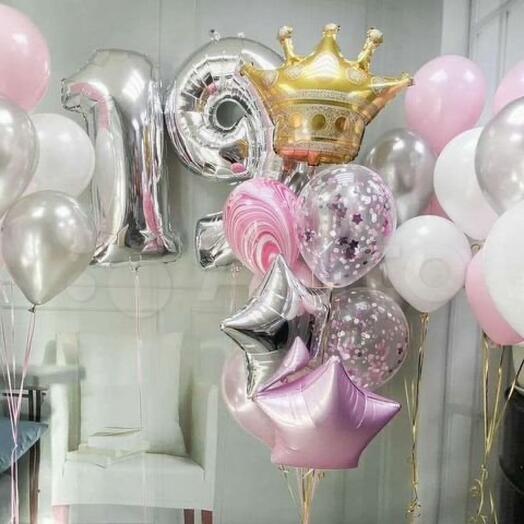 Комплект шаров на День Рождения с цифрами