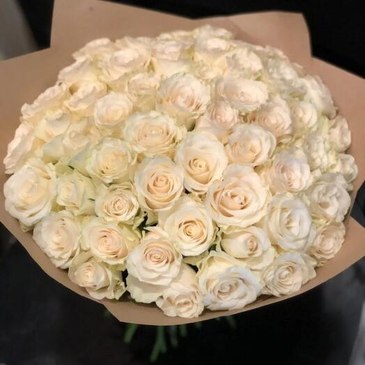 Белые розы Кения 55шт