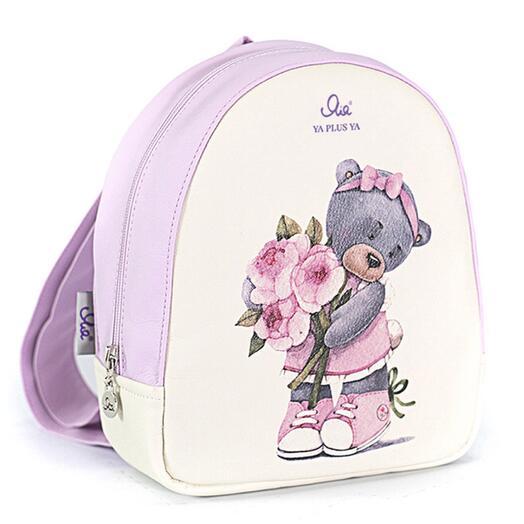 Рюкзачок детский с мишкой с цветами розовый-кремовый