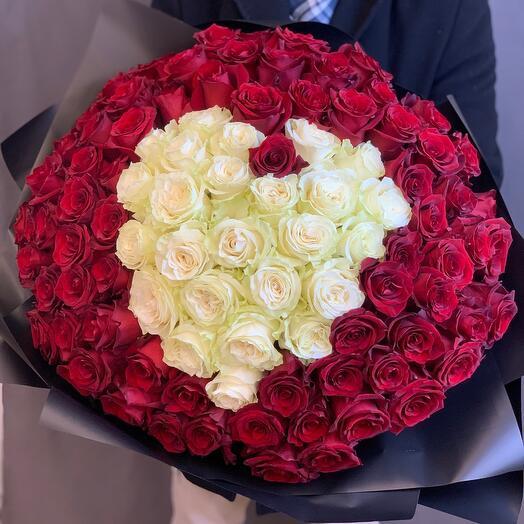 101 эквадорская роза 70см