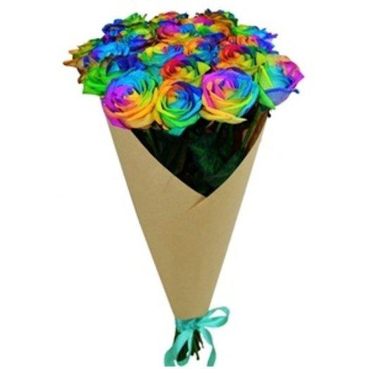 Радужные розы по-петербургски: букеты цветов на заказ Flowwow