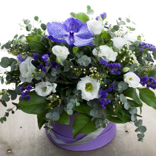 Композиция в шляпной коробке с вандой: букеты цветов на заказ Flowwow