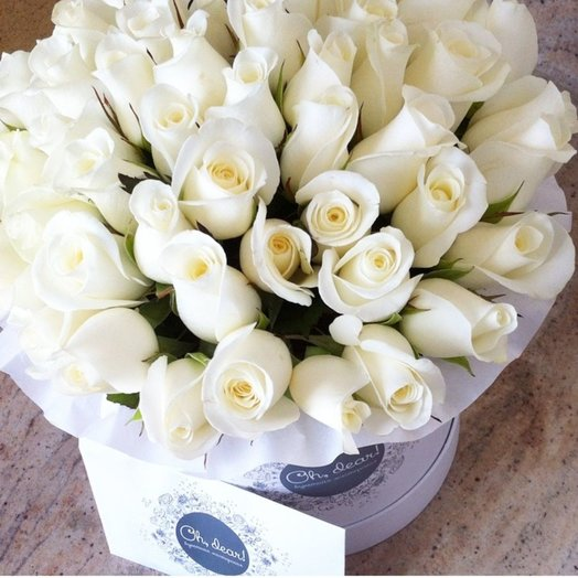 49 белых роз в коробке: букеты цветов на заказ Flowwow