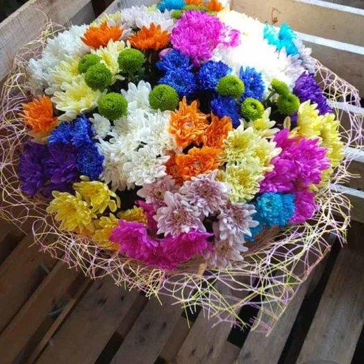 Яркий букет из хризантем: букеты цветов на заказ Flowwow