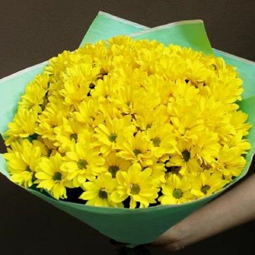 9 желтых хризантем в фетре: букеты цветов на заказ Flowwow