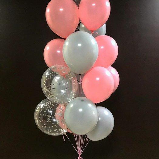 Нежный микс из 18-ти воздушных шаров
